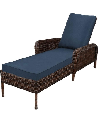 Marvelous Hampton Bay Hampton Bay Cambridge Brown Wicker Outdoor Patio Chaise Lounge With Standard Midnight Navy Blue Cushions From Home Depot Bhg Com Shop Bralicious Painted Fabric Chair Ideas Braliciousco
