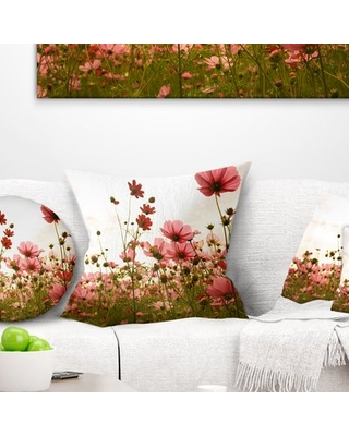 """Floral Beautiful Cosmos Flowers Garden Throw Pillow East Urban Home Size: 18"""" x 18"""", Product Type: Throw Pillow"""