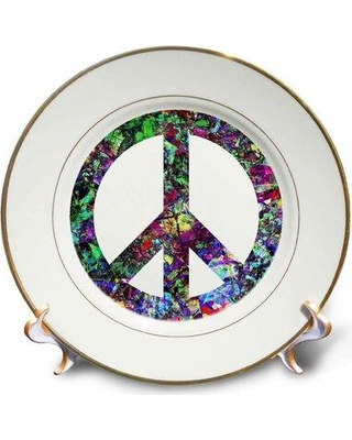 East Urban Home Colorful Peace Sign Enjoy This Digital Artwork Featuring a Colorful Peace Sign Porcelain Decorative Plate W001629661