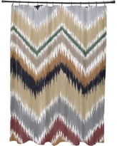 Bungalow Rose Arlington Chevron Shower Curtain BNGL6450 Color: Navy Blue/Taupe