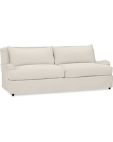 "Carlisle Slipcovered Grand Sofa 90.5"" with Bench Cushion, Polyester Wrapped Cushions, Twill Cream"