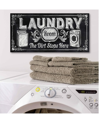 """Courtside Market 12 in. x 24 in. """"Laundry"""" Canvas Printed Wall Art, White"""
