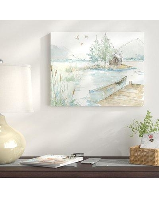 "East Urban Home 'Lake House II' Graphic Art Print on Wrapped Canvas in Green/Brown ETHH5154 Size: 28"" H x 35"" W"