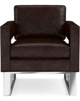 Minato Occasional Chair, Italian Distressed Leather, Truffle, Polished Nickel