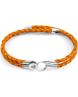 ANCHOR & CREW - Fire Orange Conway Silver & Braided Leather Bracelet