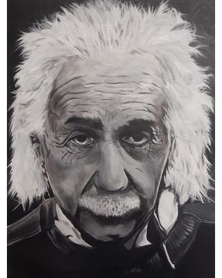 """Buy Art For Less Albert Einstein by Ed Capeau Painting Print on Wrapped Canvas EDC075C Size: 32"""" H x 24"""" W x 1.5"""" D"""