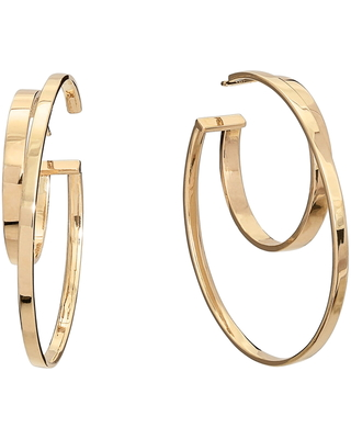 Women's Lana Jewelry Connecting Double Row Medium Flat Hoop Earrings
