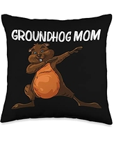 Funny Groundhog Marmot Groundhog Costume Clothes Cool Gift for Mom Mother Groundhog Day Pet Rodent Throw Pillow, 16x16, Multicolor