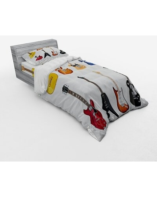 Guitar Duvet Cover Set East Urban Home Size: Twin XL Duvet Cover + 2 Additional Pieces