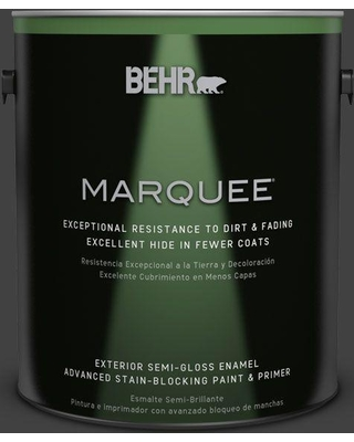 BEHR MARQUEE 1 gal. #BNC-38 Spade Black Semi-Gloss Enamel Exterior Paint and Primer in One