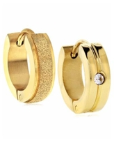 Sutton Gold-Tone Stainless Steel Matte Glitter And Stone Huggie Earrings - Gold