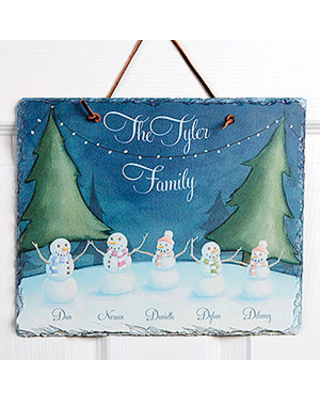 Personalized Christmas Watercolor Slate Plaque - Our Snowman Family