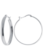 Silver Reflections Pure Silver Over Brass Hoop Earrings, One Size