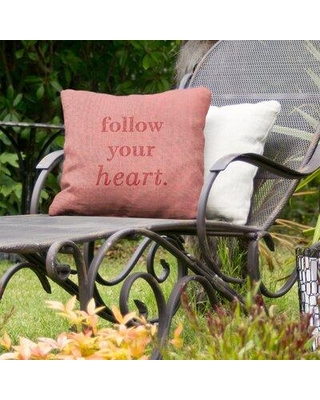 """East Urban Home Follow Your Heart Indoor/Outdoor Throw Pillow EBJZ9560 Size: 18"""" x 18"""" Color: Red"""