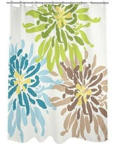 One Bella Casa Lowell Floral Woven Polyester Shower Curtain 7066SC71 Color: Blue/Green/Brown