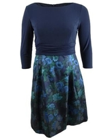 Jessica Howard Women's Solid & Floral Jacquard Fit & Flare Dress (22W, Navy)