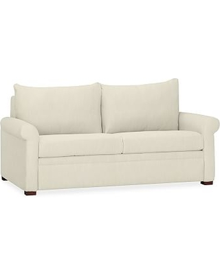 PB Deluxe Upholstered Sleeper Sofa, Polyester Wrapped Cushions, Premium Performance Basketweave Ivory