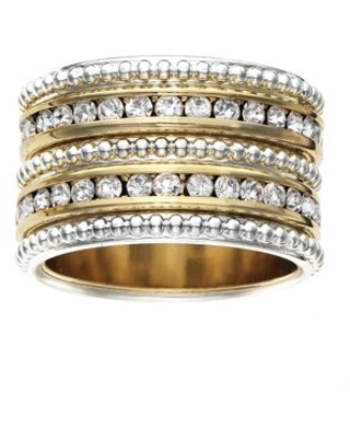 X & O 14KT Gold and Silver Plated Textured Layered Ring with Two Rows of Clear Crystal