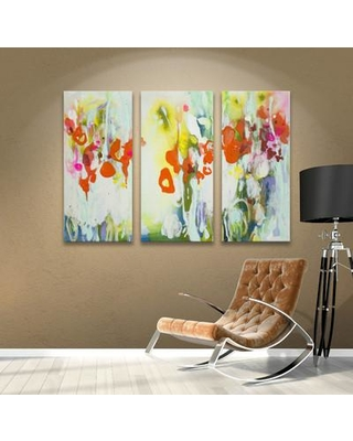 """Latitude Run My Garden 3 Piece Painting Print on Wrapped Canvas Set LTRN6004 Size: 36"""" H x 54"""" W"""