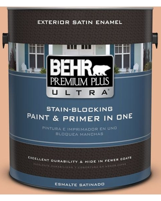 BEHR ULTRA 1 gal. #M210-4 Peach Shortcake Satin Enamel Exterior Paint and Primer in One