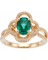 14k Gold Over Silver Lab-Created Emerald & White Sapphire Flower Ring, Women's, Size: 6, Green