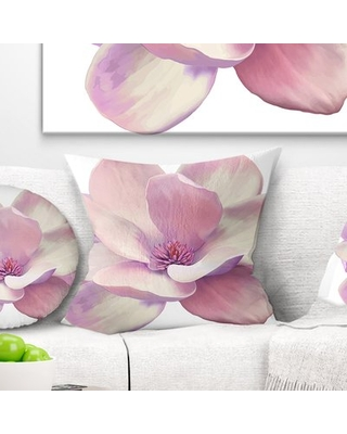 """Flowerswork Cute Magnolia Flower Pillow East Urban Home Size: 18"""" x 18"""", Product Type: Throw Pillow"""