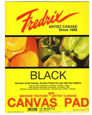 Fredrix Black Canvas Pads 16 In. X 20 In. 10 Sheets | Quill