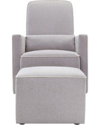 DaVinci Olive Swivel Glider and Ottoman Upholstery Color: Gray