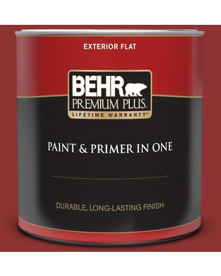 BEHR PREMIUM PLUS 1 qt. #PPF-40 Rocking Chair Red Flat Exterior Paint and Primer in One