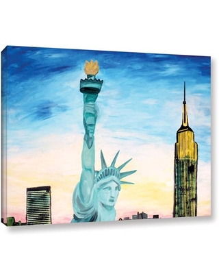 """Martina Bleichner """"Statue of Liberty with View of New York"""" Gallery Wrapped Canvas"""