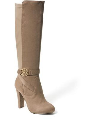 Bebe Women's Barya Logo Boots, Size 6.5 in Taupe Suede