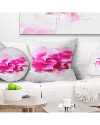 """East Urban Home Floral Beautiful Flower with Color Splashes Pillow FUSI4089 Size: 16"""" x 16"""" Product Type: Throw Pillow"""