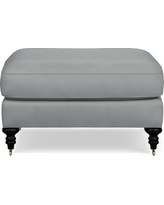 Bedford Ottoman, Tuscan Leather, Solid, Dove