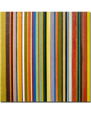 """Trademark Fine Art """"Comfortable Stripes"""" by Michelle Calkins Framed Painting Print on Wrapped Canvas MC051-C1818GG Size: 24"""" H x 24"""" W x 2"""" D"""