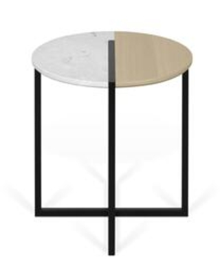 Sonata Collection 9003629204 Side Table in White Marble and Light Oak