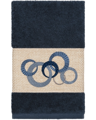 Authentic Hotel and Spa Turkish Cotton Circles Embroidered Midnight Blue Hand Towel