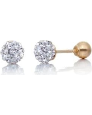 Belk & Co. Yellow Gold Crystal Ball Baby Stud Earrings in 14K Yellow Gold