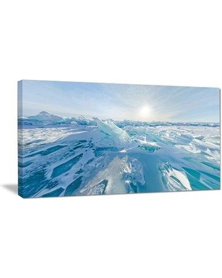 """Design Art Blue Ice Hummocks Baikal Panorama Photographic Print on Wrapped Canvas PT11742- Size: 16"""" H x 32"""" W x 1"""" D"""