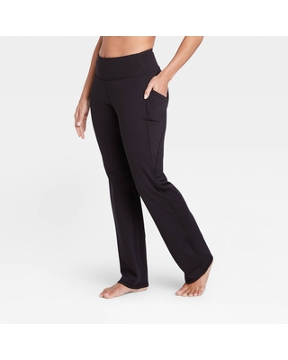 """Women's Contour Curvy High-Rise Straight Leg Pants with Power Waist 28.5"""" - All in Motion Black XL - Short"""