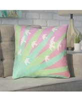 "Brayden Studio Enciso Birds and Sun Square Throw Pillow BYST5035 Size: 14"" x 14"", Color: Green/Pink"