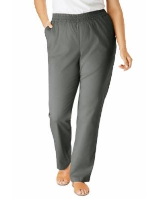 Plus Size Women's Elastic-Waist Straight Leg Chino Pant by Woman Within in Olive Grey (18 Wide)   Spandex/Cotton