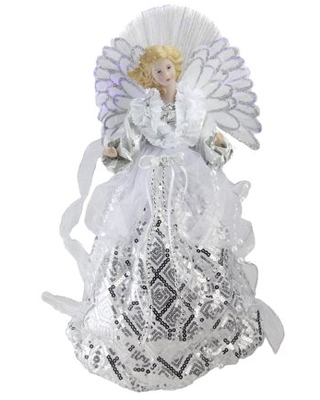 """16"""" Lighted Fiber Optic Angel in White and Silver Sequined Gown Christmas Tree Topper"""