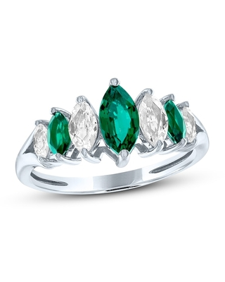 Lab-Created Emerald & White Lab-Created Sapphire Ring Sterling Silver
