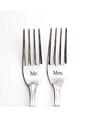 Cake forks for wedding, custom engraved flatware, wedding dining set, customized silverware for bride and groom, table decoration for mr mrs