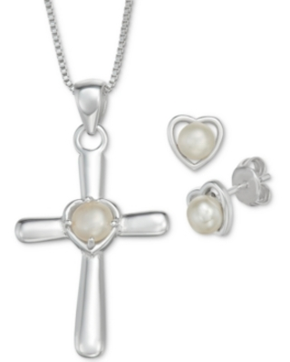 """Cultured Freshwater Pearl Cross 18"""" Pendant Necklace and Heart Stud Earrings Set in Sterling Silver"""