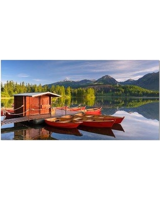 "East Urban Home 'Red Boat in a Mountain Lake' Photographic Print on Wrapped Canvas ETUC2148 Size: 16"" H x 32"" W x 1"" D"