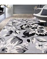 Modern Floral Area Rugs 5' X 7' Gray