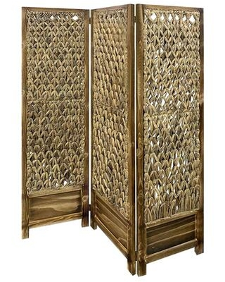 BM205797 Woven Seagrass 3 Panel Wooden Room Divider Natural