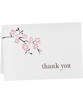 Cherry Blossom Thank You Cards (50 count), Pink