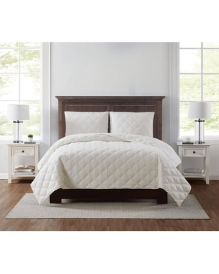 King 3pc Everyday 3D Puff Quilt Set Ivory - Truly Soft